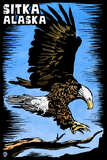 Sitka  Alaska - Bald Eagle - Scratchboard