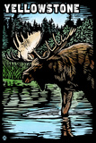 Yellowstone National Park - Moose Scratchboard