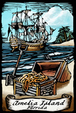 Amelia Island  Florida - Pirate - Scratchboard