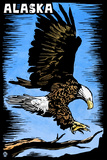 Alaska - Bald Eagle - Scratchboard