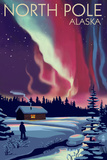 North Pole  Alaska - Northern Lights and Cabin