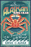 Kodiak  Alaska - King Crab Vintage Sign