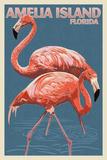 Amelia Island  Florida - Flamingo - Letterpress
