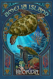 Amelia Island  Florida - Sea Turtle Art Nouveau