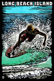 Long Beach Island - Scratchboard Surfer