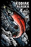 Kodiak  Alaska - Salmon Scratchboard