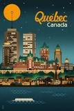 Quebec  Canada - Retro Skyline