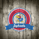 Kansas Jayhawks Logo on Wood