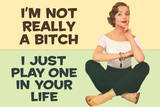 I'm Not Really a Bitch I Just Play One in Your Life Funny Poster Print