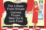 4 Basic Food Groups Canned Frozen Take Out Junk Funny Art Poster Print