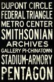 Washington DC Metro Stations Vintage RetroMetro Travel Poster