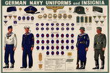 German Navy Uniforms and Insignia Chart WWII War Propaganda Art Print Poster