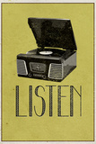Listen Vintage Record Player Poster
