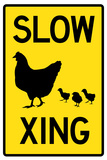 Slow Chicken Crossing Sign Poster