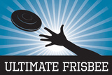 Ultimate Frisbee Blue Sports Poster Print