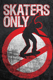 Skaters Only (Skating on Sign) Art Poster Print