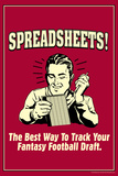 Spreadsheets Best Way Track Fantasy Football Draft Funny Retro Poster