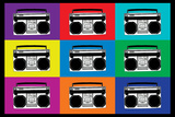 Boombox Stereos Pop Art Print Poster