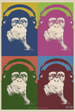 Steez Monkey Headphones Quad Pop-Art