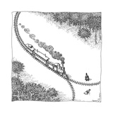 A train heads toward a tied up victim traveling along a track that comes t - New Yorker Cartoon