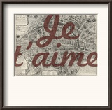 Je Taime - Paris  France  Vintage Map