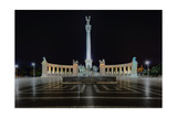 Heroes Square At Night In Budapest  Hungary