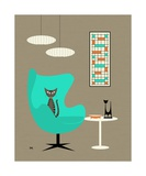 Mid Century Modern Tabby Cat