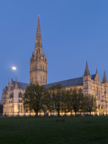Salisbury Cathedral At Dusk With Moon