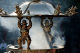 Figures Hold Lid Of Incense Pot Longshan Temple