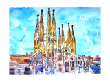 Sagrada Famila in Barcelona with Blue Sky