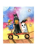 Halloween Wagon Scarecrow Ghost cat