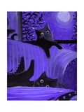 Purple Halloween Black Cats Witch Feet
