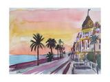Nice France Seaview Boulevard at Sunset