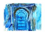 Chefchaouen Morocco Blue Door Watercolor