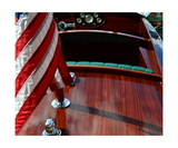 Chris Craft with Flag and Steering Wheel