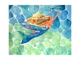 Golden Hair Blue Swimming Mermaid