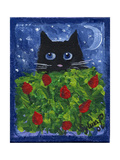 Black Cat in the Tulips