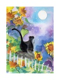 TUXEDO CAT MOONLIGHT SUNFLOWERS