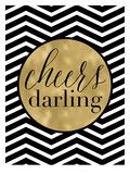 Cheers Darling Black White Chevron Reproduction d'art par Amy Brinkman