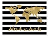 World Map Black White Stripe Adventure Awaits