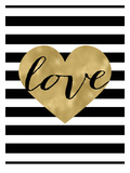 Love Heart Black White Stripe