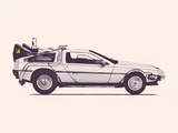 Delorean Back To The Future Reproduction d'art par Florent Bodart