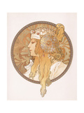 Byzantine Head of a Blond Maiden; Tete Byzantine D'Une Femme Blonde  C1897 (Lithograph in Colours)