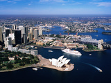 Sydney Harbour  with Opera House and Ms Europa in Centre  Sydney  New South Wales  Australia