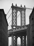 Manhattan Bridge and Empire State Building  New York City  USA