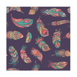 Bohemian Style Feathers Seamless Pattern Reproduction d'art par Marish
