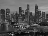 Singapore  Singapore Skyline Financial District Illuminated at Dusk  Asia