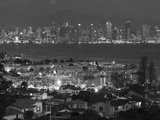 California  San Diego  City and Shelter Island Yacht Basin from Point Loma  Dusk  USA