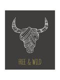 Bohemian Style Bull Skull Poster Reproduction d'art par Marish