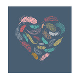 Bohemian Style Poster with Gypsy Colorful Feathers, Arranged in Heart Reproduction d'art par Marish